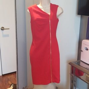 Beautiful red dress with gold zipper